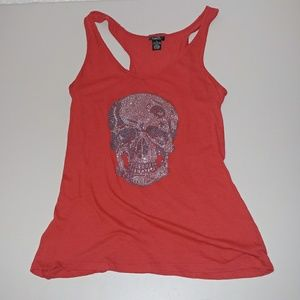 Rue21 Skull Head Red Women's Tank Top XL Fitted